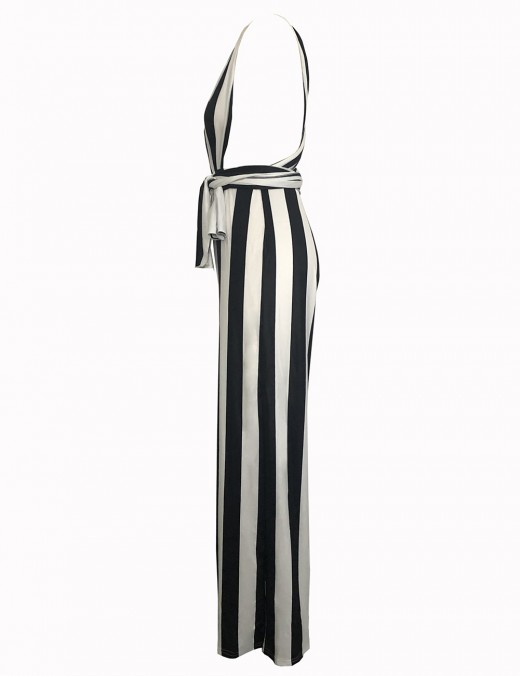 Ultra Cheap Black Cross Strap Deep V Neck Jumpsuit Stripe Feminine