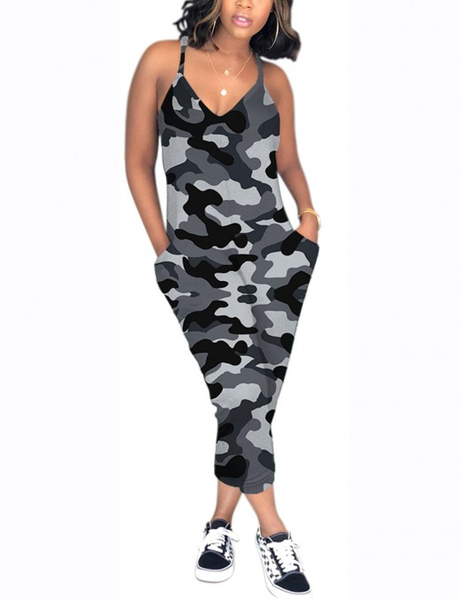 Impeccable Grey Side Pocket Camouflage Print Jumpsuit V Neck For Holiday