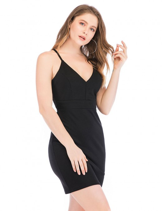 Incredible Black Lace Back Sling Hollow Dress Slim Waist Female Fashion