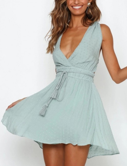 Charming Blue Swing Hem Halter Waist Tie Dress Open Back Wedding Trip