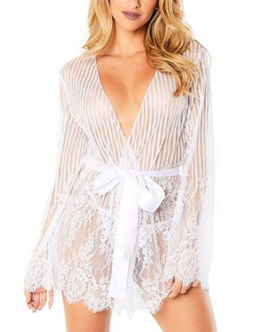 Island Paradise White Slender Stripes Lace Nightgown Set big SIze Simplicity