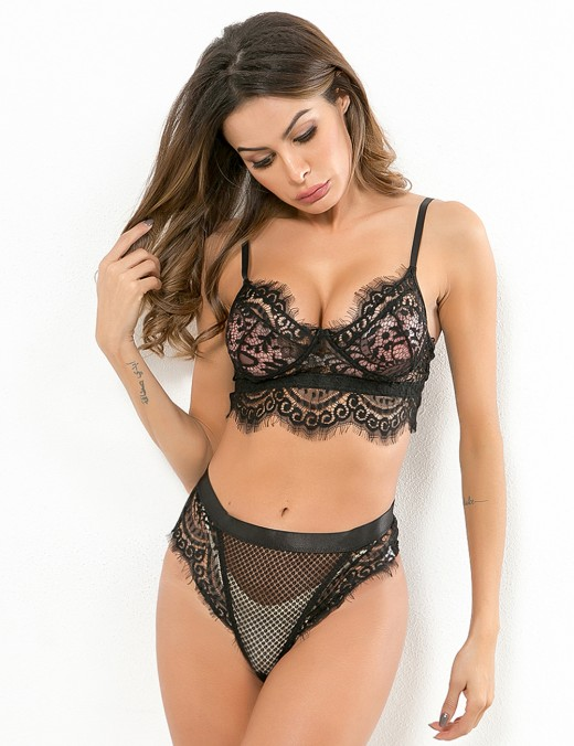 Sumptuous Black Sling Lace Mesh Bralette Set Open Back Female