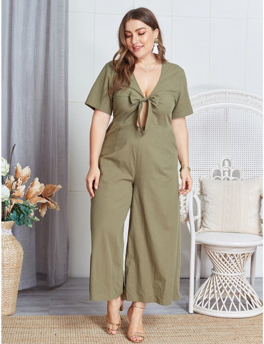 Women Army Green Bow Tie Big Size V Collar Jumpsuit Outfit