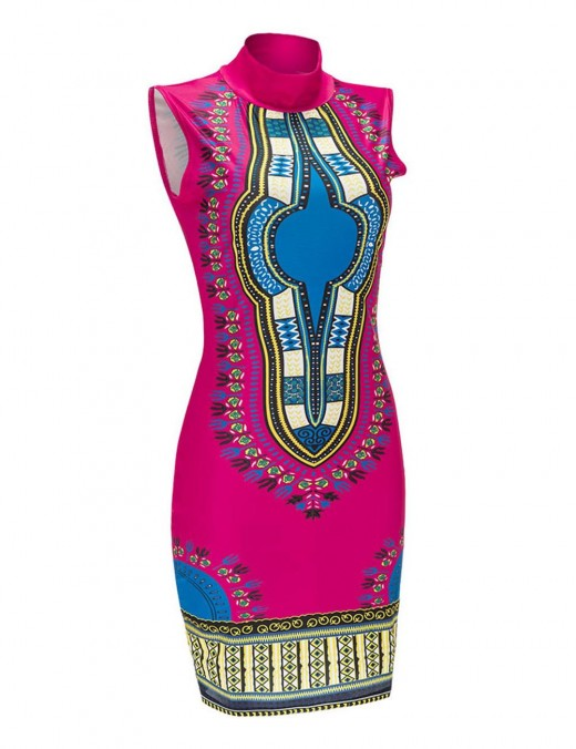 Rose Red Non-Sleeve Big Size Bodycon Dress Dashiki Women
