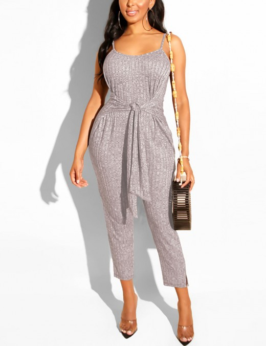 Laid-Back Dark Grey Slender Strap Knot Jumpsuits Open Back Lady