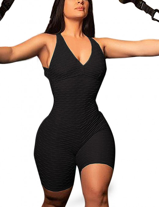 Glam Black Deep V Neck Pure Color Jumpsuit Active Fashion
