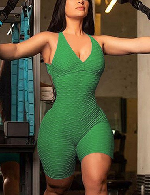 Green Short Sports Tight Jumpsuit Backless Latest Trends