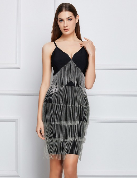 Exclusive Black Metallic Tassel Backless Bandage Dress Natural