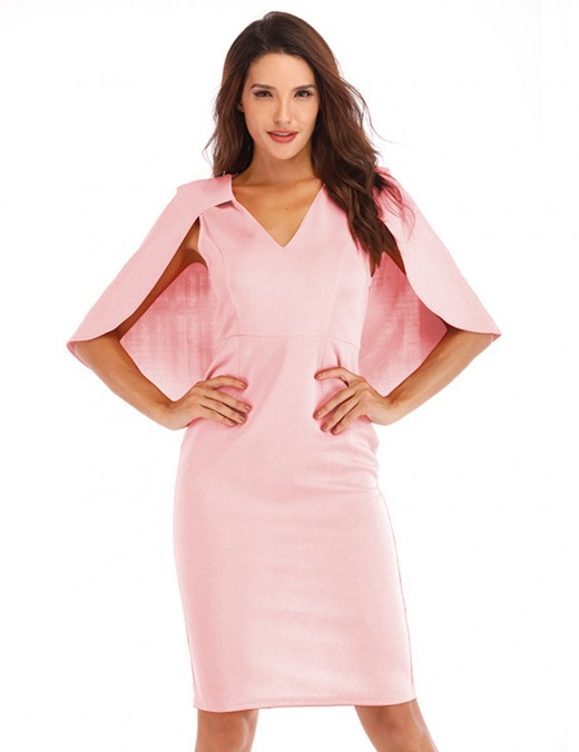 Flirtatious Pink Slim Waist V Neck Dress Back Zip For Playing