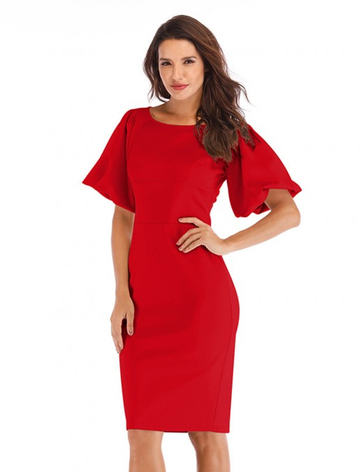Irresistible Red Slit Back Boat Neck Hip Package Dress Ladies