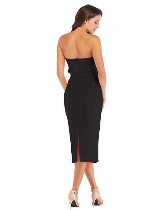 Eye Catch Black Open Back Slim Waist Tight Dress Bandeau