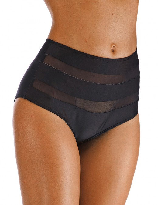 Gorgeous Black Mesh Patchwork Big Size Bikini Bottom Perspective