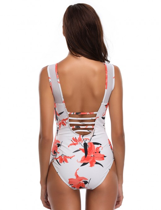 Exquisitely Mesh Patchwork Backless 1 Pcs Beachwear Print Latest Trends