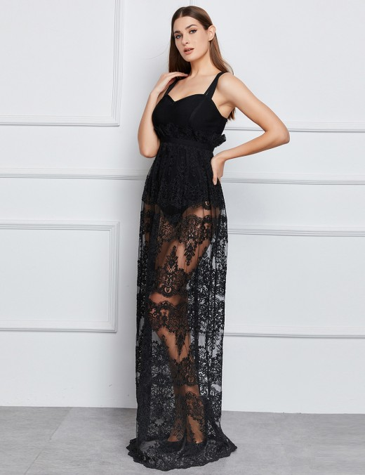Affordable Black Lace Patchwork High Rise Bandage Dress