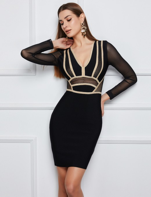 Retro Mesh Stitching Black Bandage Dress Contrast Color Stripe