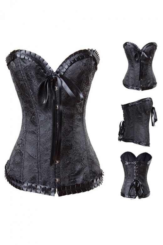 Black Pleated Flocking Embroidery Corset