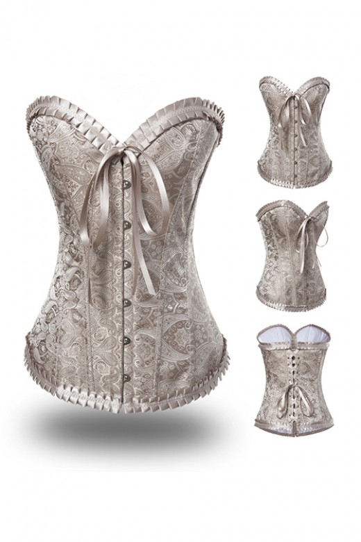Beige Pleated Flocking Embroidery Corset