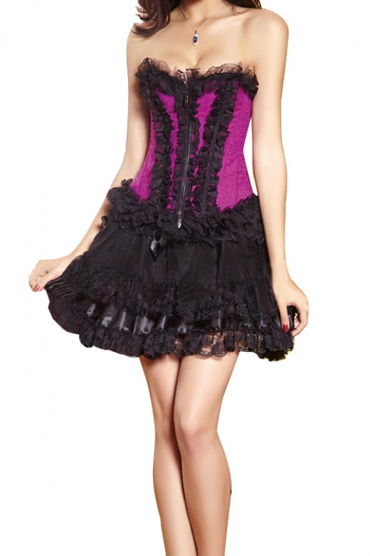 Black Lace Rose Red Corset