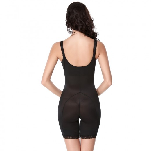 Women Black Translucent Straps U-back Zipper Lace Hem Body Shapewear