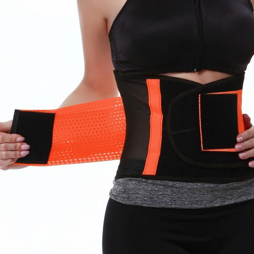 Orange Mesh Adjustable Waist Trainer Belt