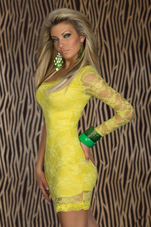Yellow Sexy Tight Club Wear dress