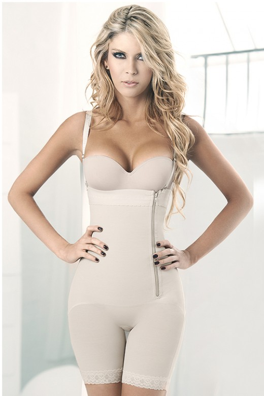 Hourglass Detachable Straps Zipper Nude Firm Control Bodysuit