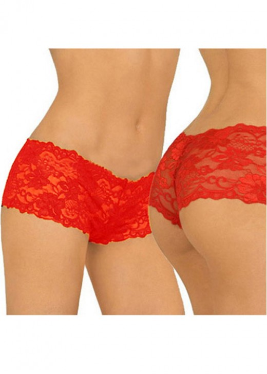 Red Sexy Mesh Lace Women Panties