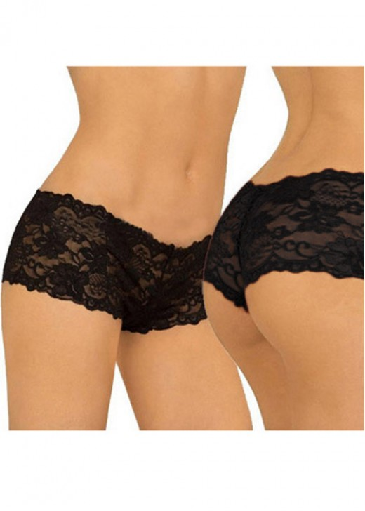 Black Lace Print Women Panty
