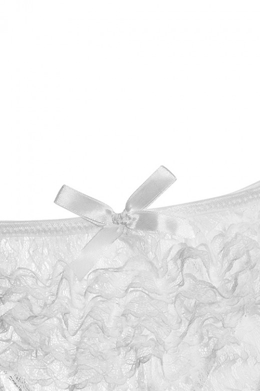 Plus Size White Lace Open Crotch Women Panty