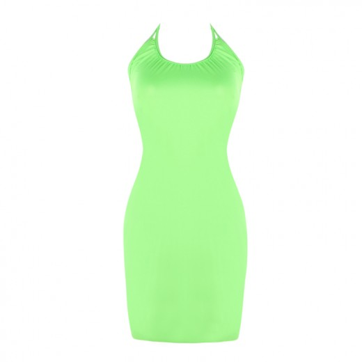 Shimmering Pure Green Beach Sundresses Scoop Neckline