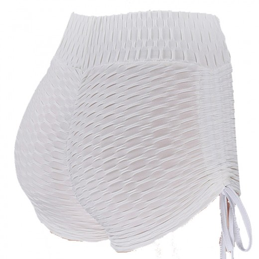 Illusion White Ruched Short Tights Womens Latest Booty Lift