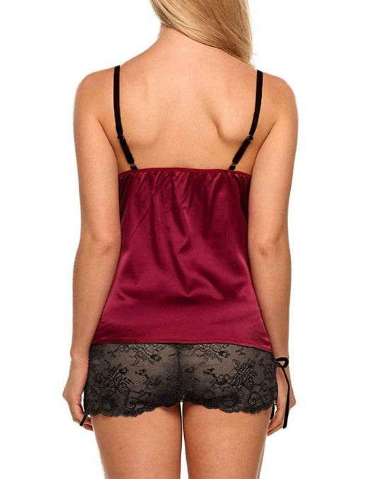 Cheap Easy Wine Red Lace Cami and Panty Set Queen Size For Dreamgirl