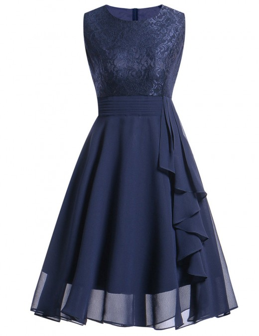 Lace Chiffon Skater Dress Midi Length For Party