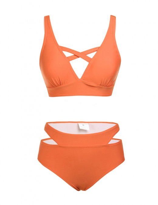 Cutie Orange Criss-Cross Bowknot Bikini Cut Out Hot Sale