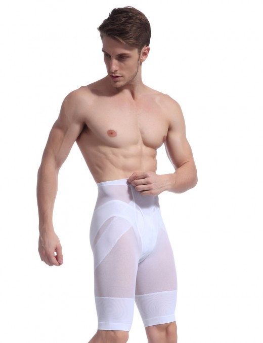 Slimming Perspective White Men Mesh Cross Body Shaper Tight Fitting