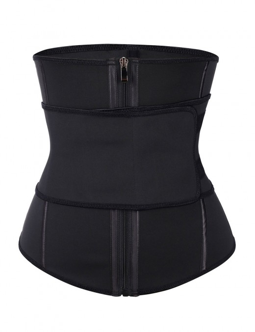 Flawlessly Double Layer Black 7 Steel Boned Waist Trainer Plus Size