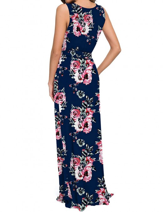 Slender Flower V Neck Tie Big Size Maxi Dress Quick Drying