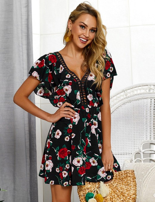 Smooth Black Hollow Plunge Neck Flower Mini Dress A-Line Best Materials