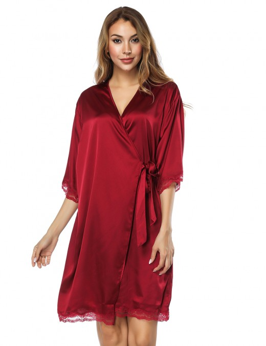 Delicate Satin Faux Silk Wine Red Nightgown Cardigan For Women