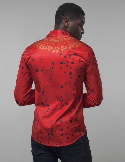 Enthralling Red Buttons Big Size Cardigan Male Shirt Dashiki Superior Comfort