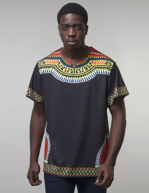 Interesting Black Tribal Round Neck Male Top Big Size Latest Clothes