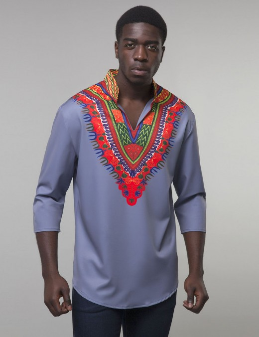 Minimalist Blue Standing Collar Tribal Men Top Big Size Natural