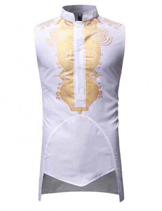 Desirable White African Hot Stamping Buttons Men Top Sleeveless Fashion