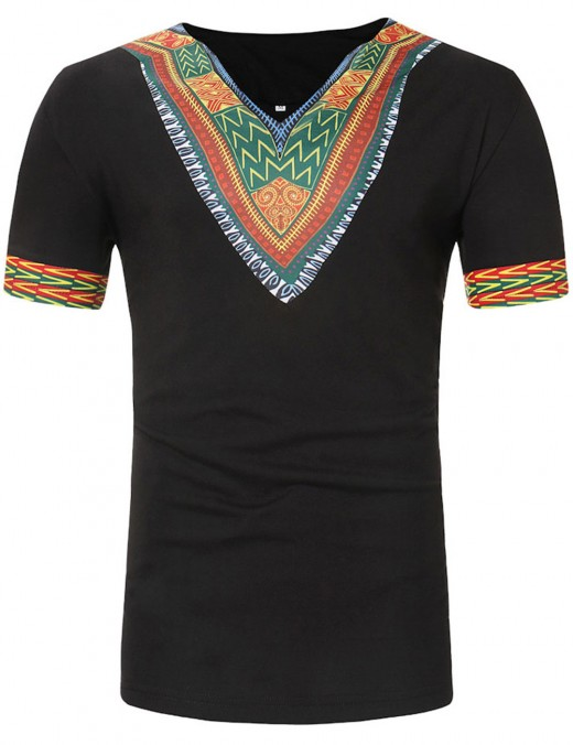 Appropriate Black V Collar African Male T-Shirt Short Sleeve Cheap Online