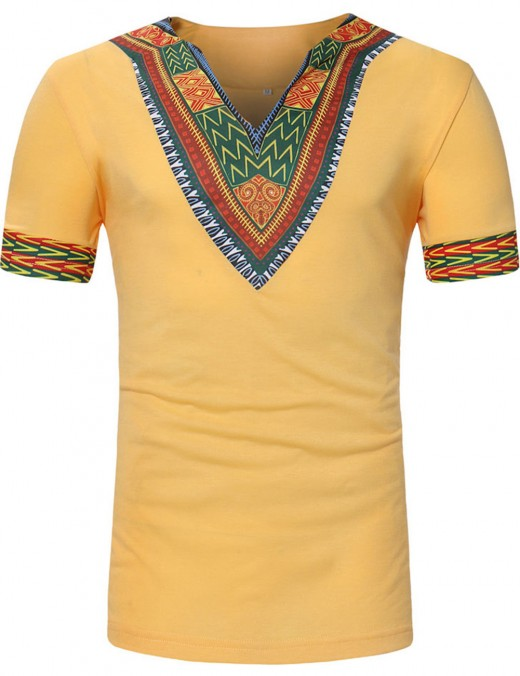 Holiday Yellow African Ethnic Print Men T-Shirt V Collar Elasticity