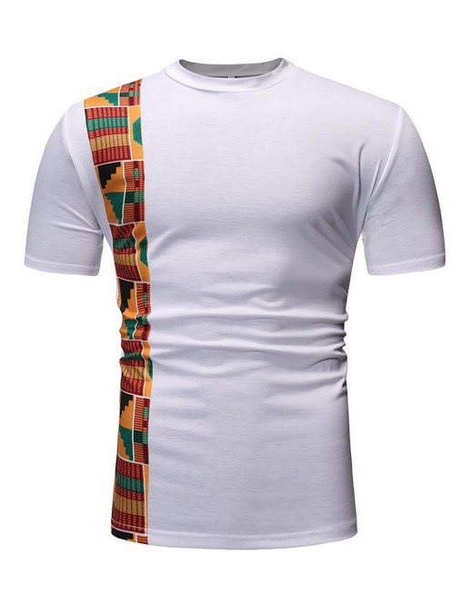 Classical White Short Sleeve Men T-Shirt Ethnic Print Patchwork Sensual Curves