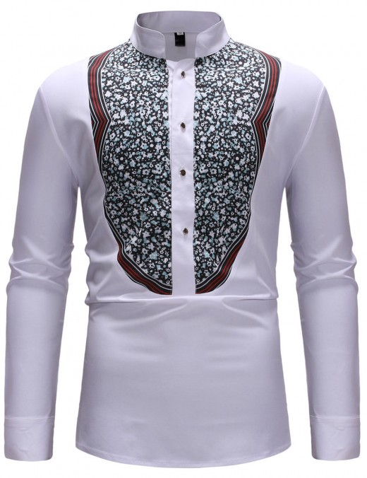 White Ethnic Pattern Men Stand Neck Button Shirt Workout