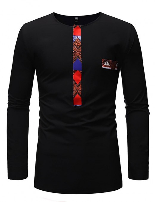 Extreme Black Contrast Color Patchwork Long Sleeve Male T-Shirt For Sauntering
