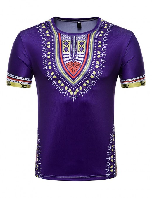 Smooth Short Sleeve Purple Round Collar Men T-Shirt Dashiki Women