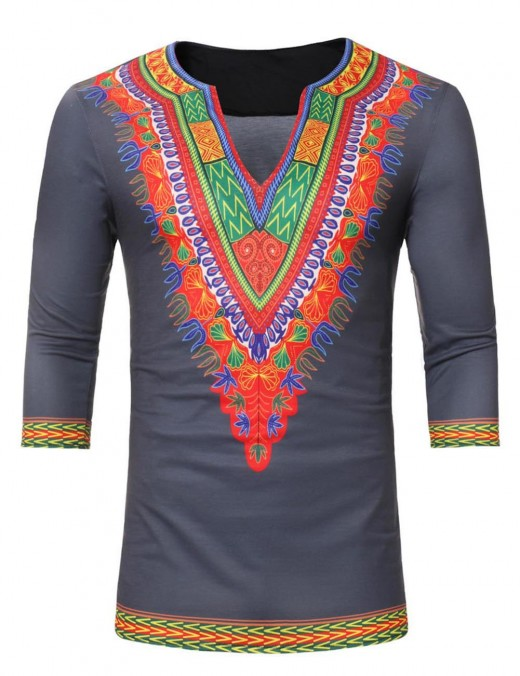 Desirable Grey Plus Size African Print Men T-Shirt 3/4 Sleeve Tops